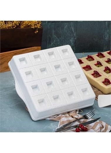Taç Taç 6596 Granit Döküm Brownie Kek Kalıbı Beyaz Beyaz